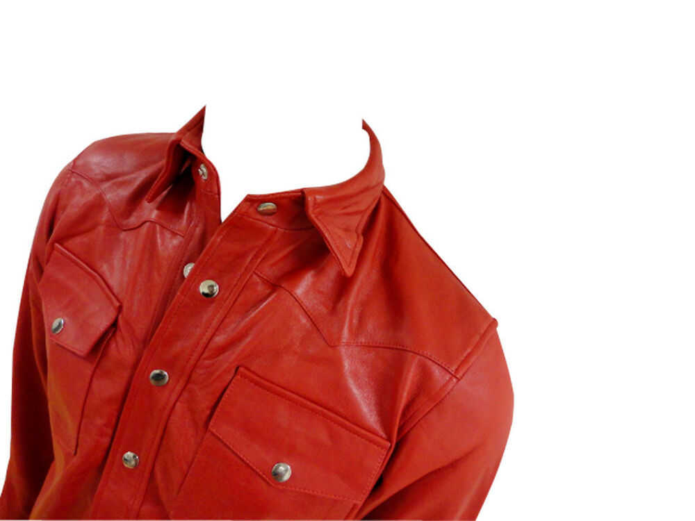 Mens soft genuine real nappa red leather shirt brand lll for Mens shirts with leather