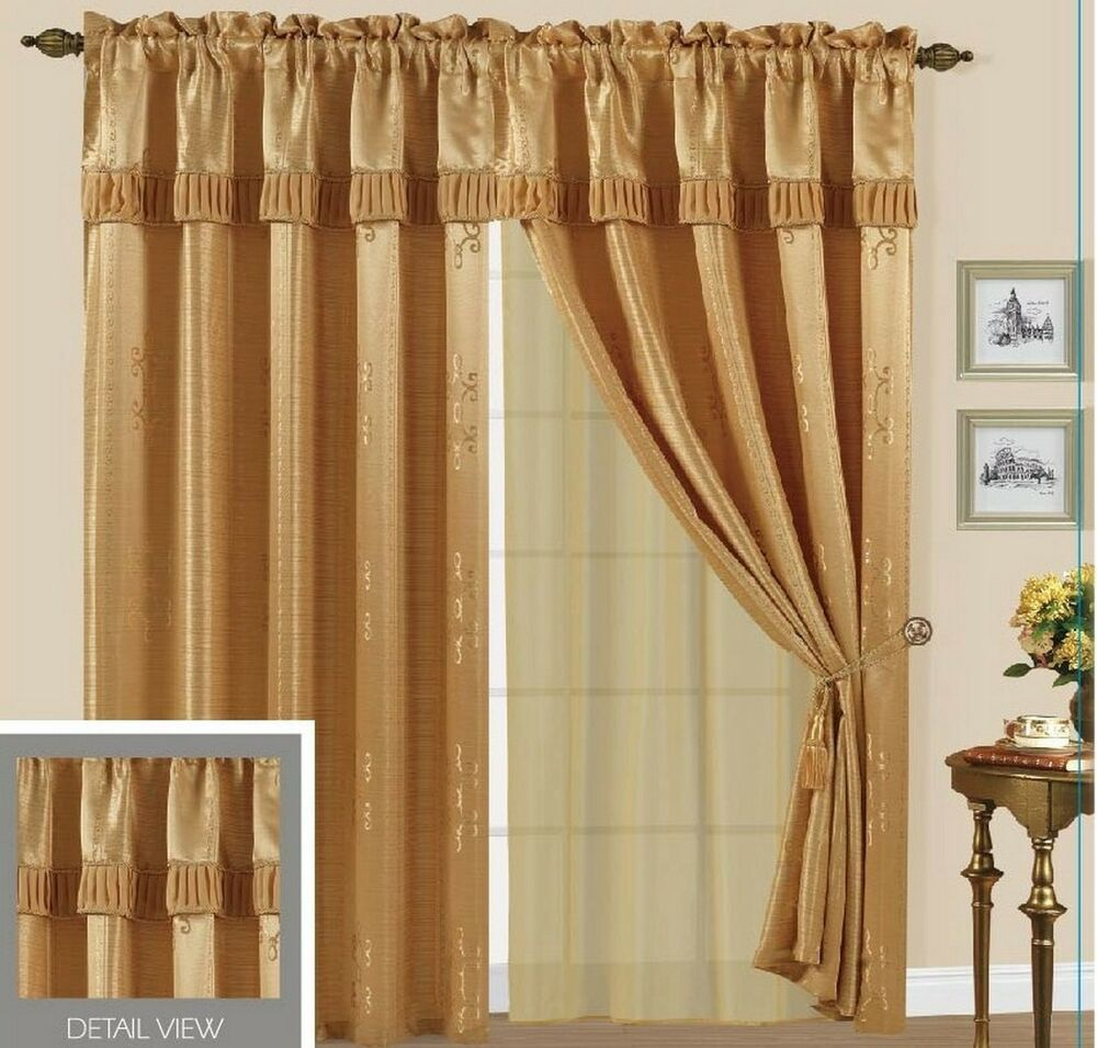 5 Panel Window : Luxury lined curtain set drape valance window treatment