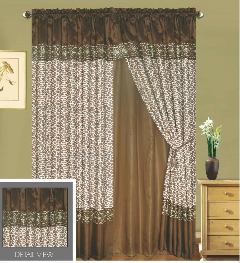 Luxury lined curtain set drap valance window treatment 2 Luxury window treatments