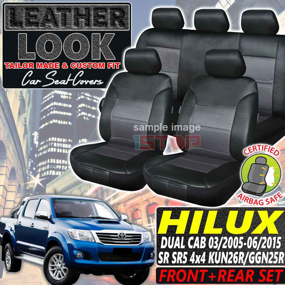 toyota hilux dual cab sr sr5 4x4 leather look seat covers 03 2005 06 2015 custom ebay. Black Bedroom Furniture Sets. Home Design Ideas