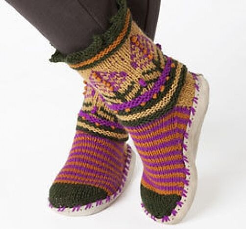 Knitting Pattern Ladies Slipper Boots : nordic style slippers womens knitting pattern 99p eBay