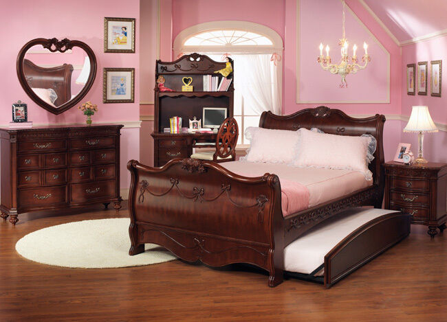 Disney princess girls cherry 3 piece twin sleigh bed for Full size bedroom furniture sets
