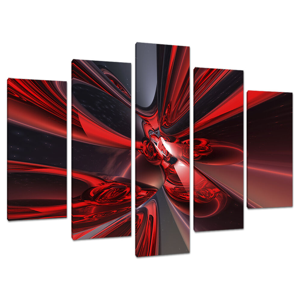 5 Piece Abstract Canvas Art Pictures Large Modern Red Wall ...