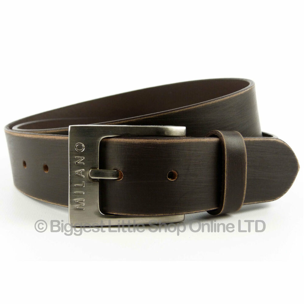 new mens brown distressed real leather belt 3 8cm wide