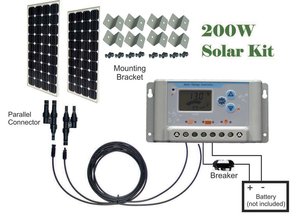 200w   2 X 100w   Watts Solar Panel Kit 30a Charge
