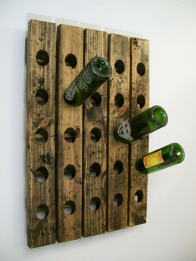Wine Riddling Rack Wall Mounted Distressed Wood