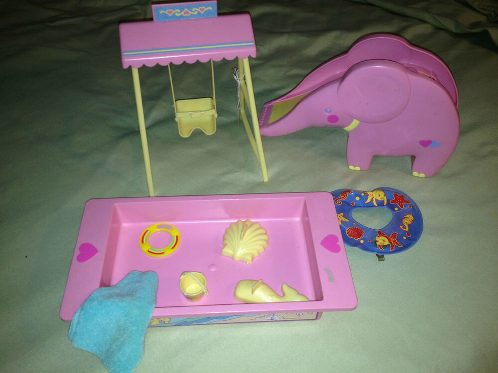 Vintage 1988 Mattel Doll Toy Set Slide Swing Wading Pool Water Sand Toys Ebay
