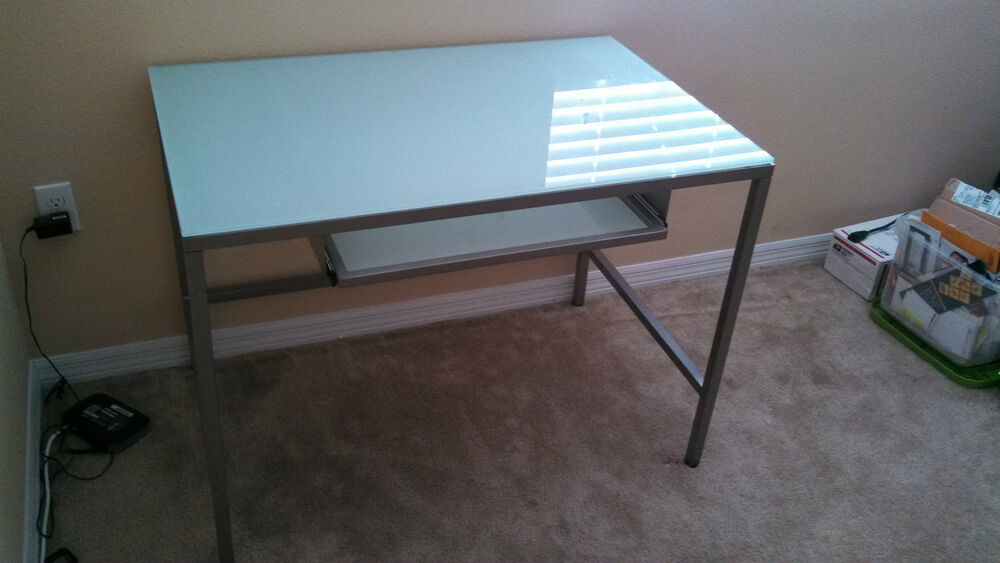 Charmant CB2 Trig Desk Metal Glass Modern Office Design Drafting Illustrating  Computer | EBay