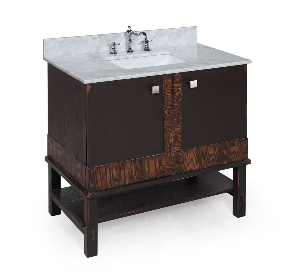 36 Carrera Marble Solid Wood Modern Bathroom Vanity