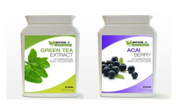 90 Acai Berry 90 Green Tea Colon Cleanse Weight Loss Fat Burn Capsules BOTTLE