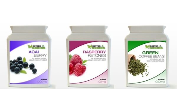 60 Acai Berry 60 Green Coffee Bean 60 Raspberry Ketones Weight Loss Capsules BOT