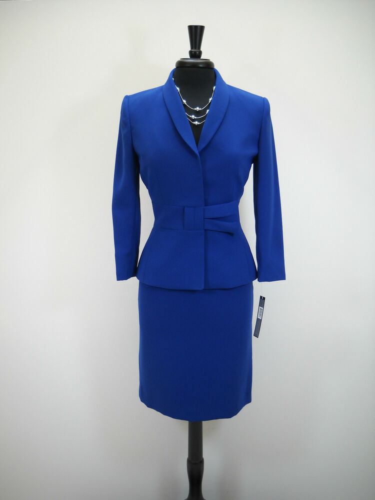 new tahari 2pc skirt suit 12 royal blue with sash