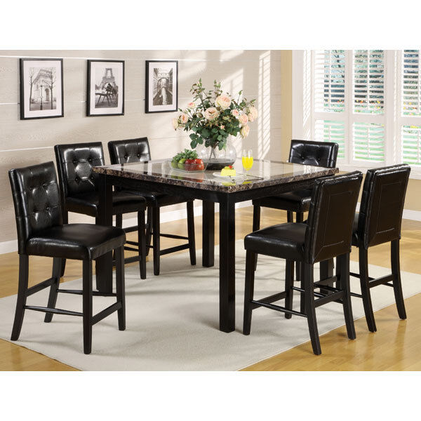 Atlas faux marble top counter height dining table set ebay Black marble dining table set