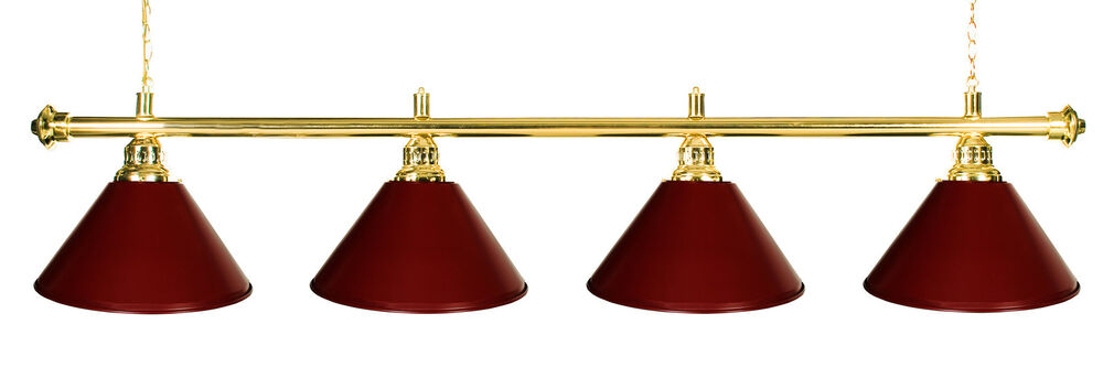 table light billiard lamp brass rod burgundy metal shades ebay. Black Bedroom Furniture Sets. Home Design Ideas