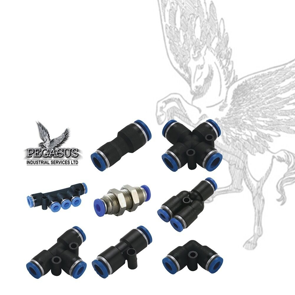 Pneumatic push in fittings connectors for air or water