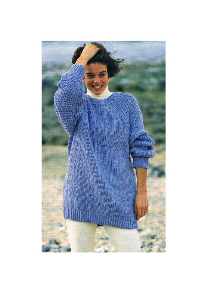 Knitting Pattern Jumper Ladies : Ladies Aran Sloppy Joe Sweater/Jumper-Knitting Pattern PATTERN ONLY-30-42in ?...