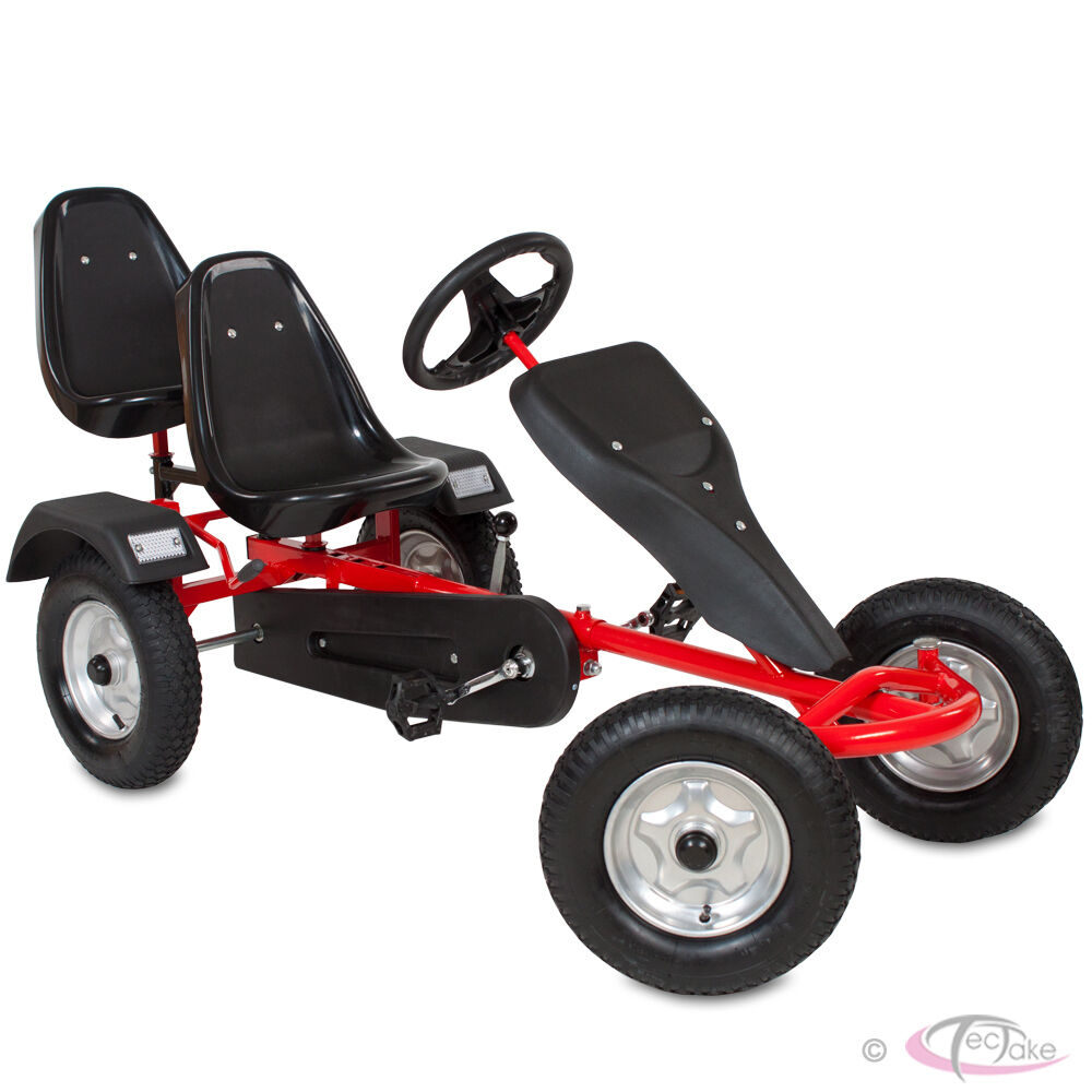 go kart pedal 2 seater ride on car rubber tires red ebay. Black Bedroom Furniture Sets. Home Design Ideas