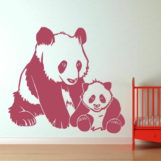 Mother and baby panda bears wall art sticker as10052 ebay for Panda bear decor