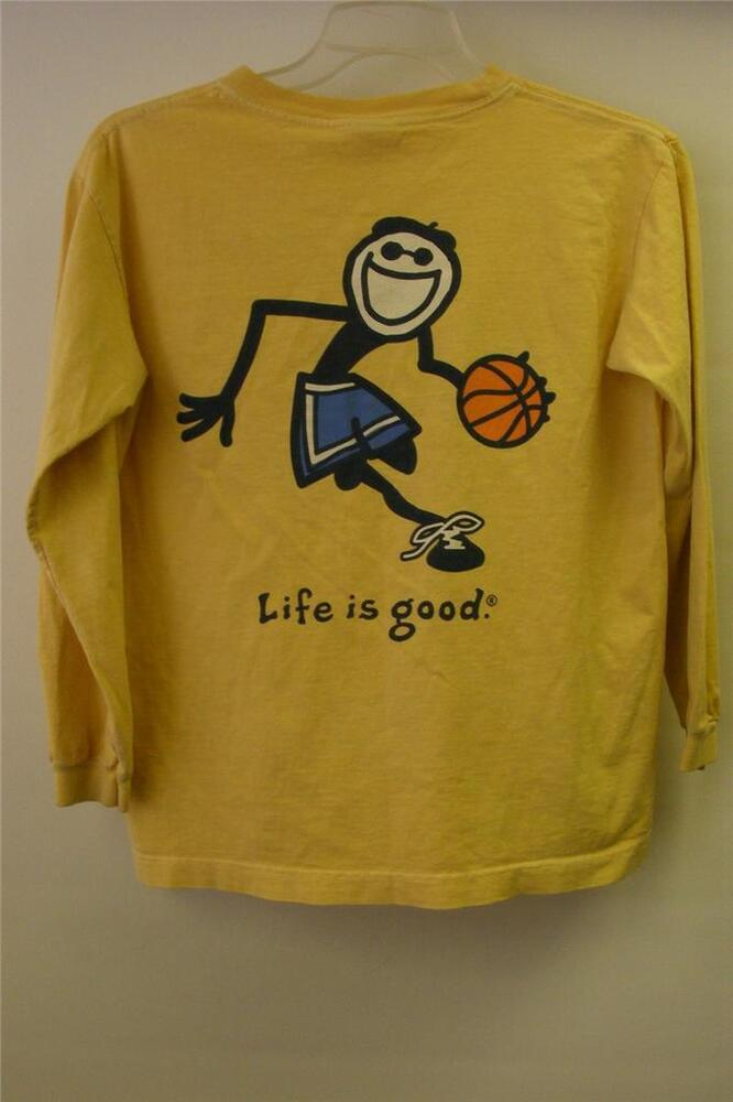 Youth Life Is Good Basketball Long Sleeve T Shirt Size Y