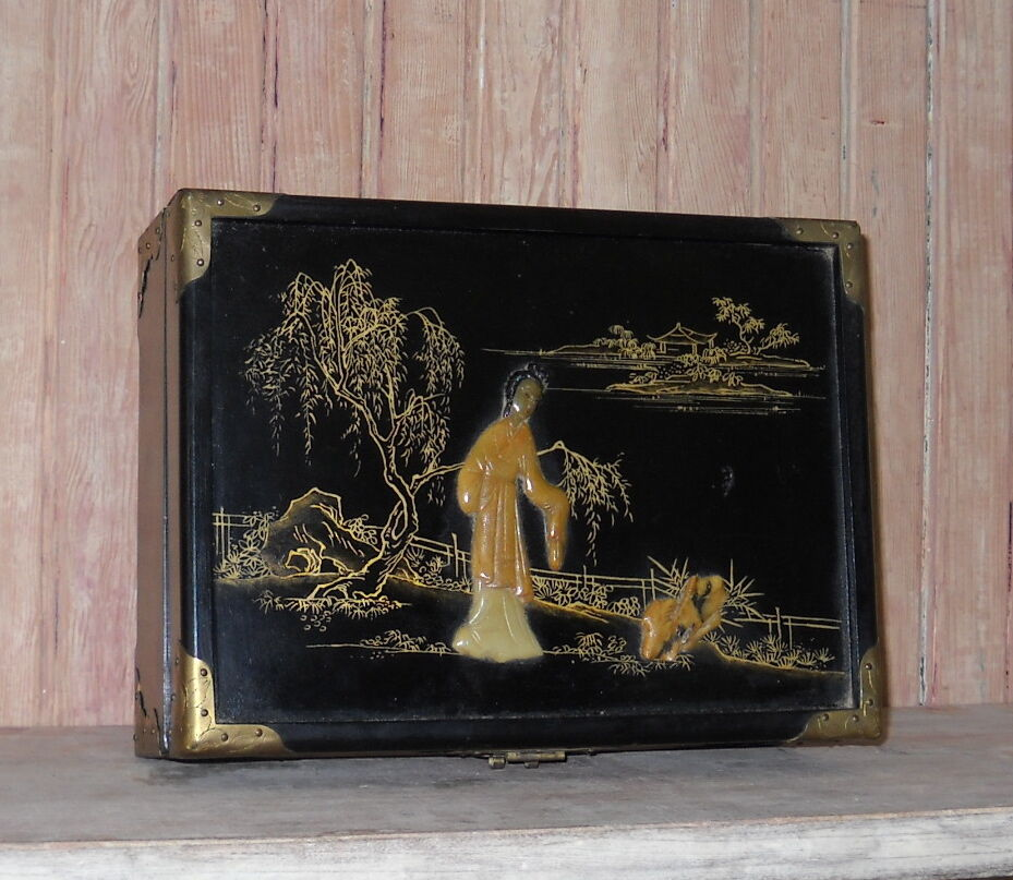 elegant vintage chinese chinoiserie garden black lacquer