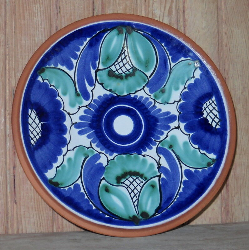 Hand painted terra cotta cobalt blue maiolica majolica for Where to buy ceramic plates to paint
