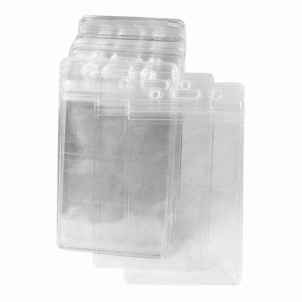 50 Pcs Clear Plastic Vertical Name Tag Badge ID Card Holders | eBay