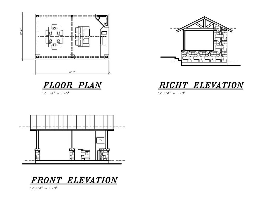 Pool House Cabana Plans: Outdoor BBQ Kitchen Bar / Cabana / Pool House / Pavilion