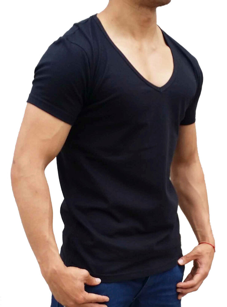 New mens plain black deep v neck t shirt slim fit s xxl for What is a fitted t shirt