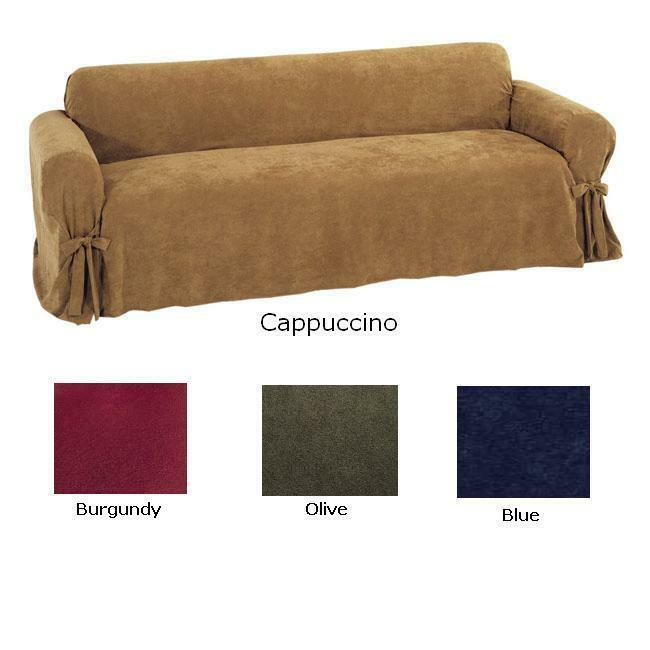 Details About Soft Micro Suede Sofa Couch Loveseat Chair Slipcover In Four Colors