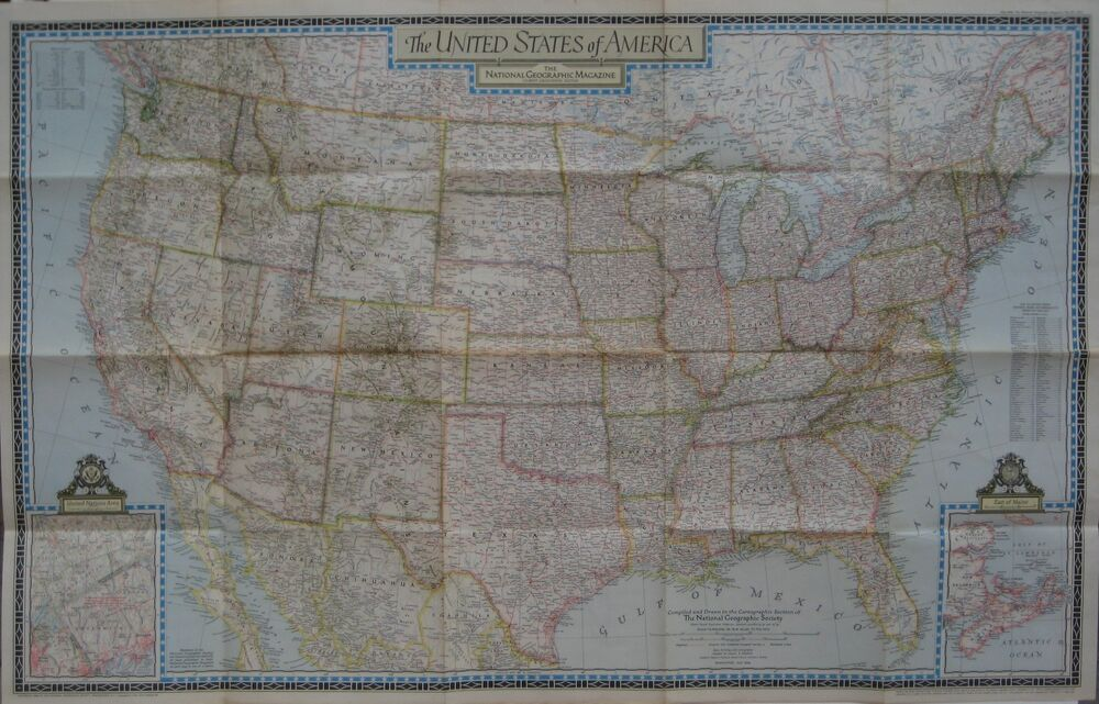 Large Format 1946 Road Map UNITED STATES Route