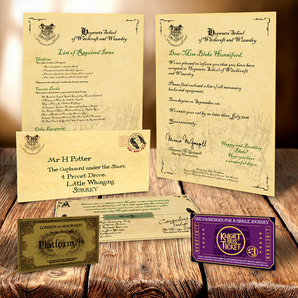 HARRY POTTER HOGWARTS ACCEPTANCE LETTER PERSONALISED GIFT