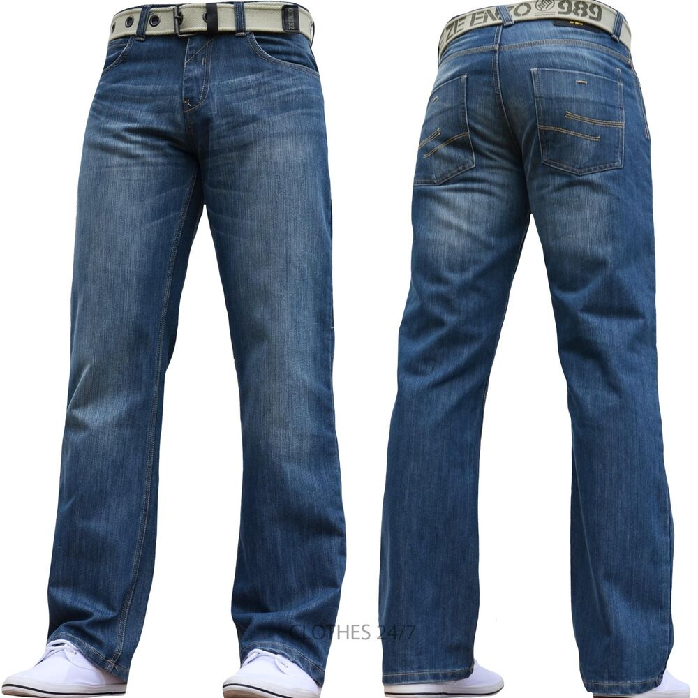 new mens jeans enzo straight fit regular belt waist size 28 30 32 34 36 38 40 42 ebay. Black Bedroom Furniture Sets. Home Design Ideas
