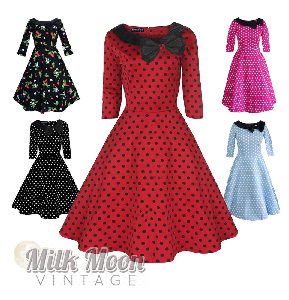 Vintage Dress 1950s 1960s Party Red Black Polka Dot Sleeve