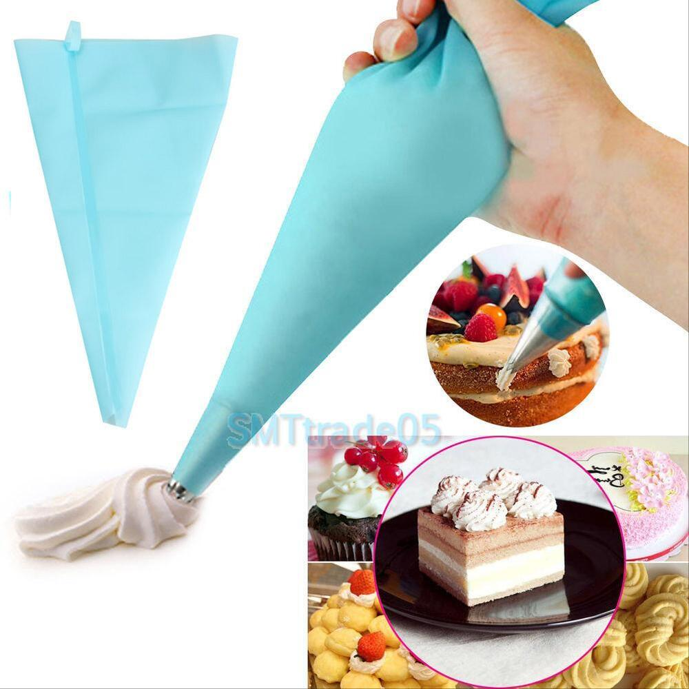 Cake Decorating Bag How To : Silicone Pastry Bag Reusable Cream Icing Baking Cookie ...