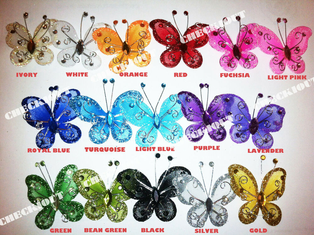 20 pcs 2 organza tulle butterflies craft wedding party