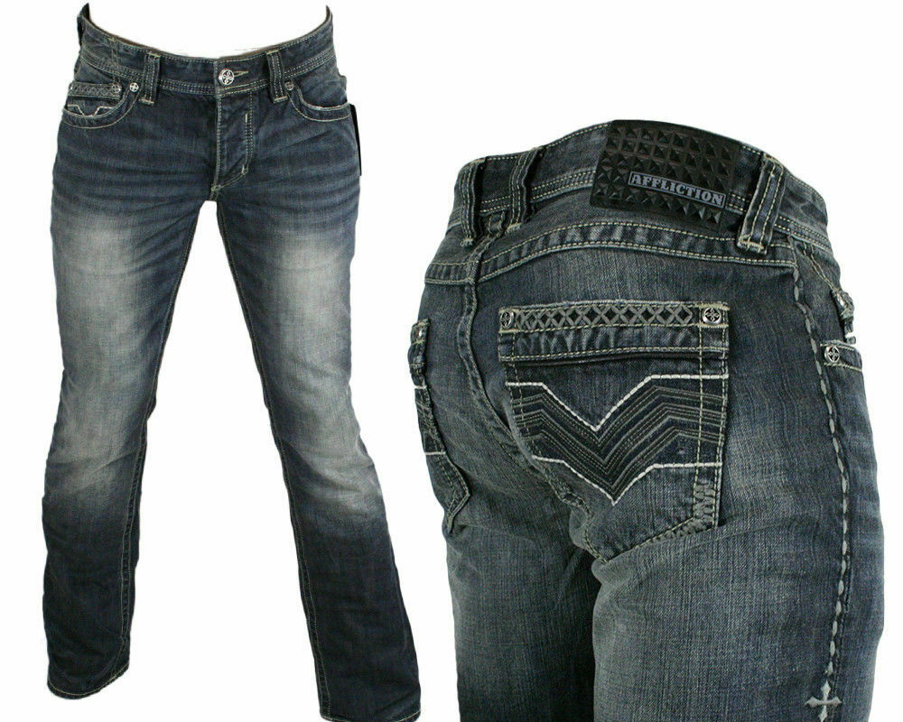AFFLICTION Jeans Men's ACE Rock V Venom Slim Straight Leg