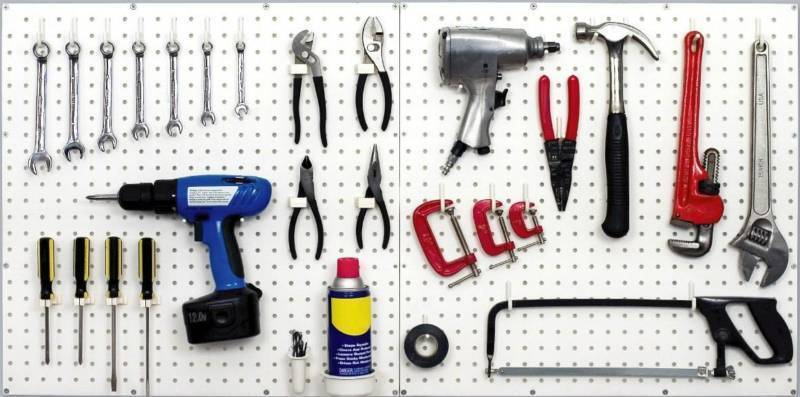 White Pegboard Kit Wall Storage Workbench Organizer Peg