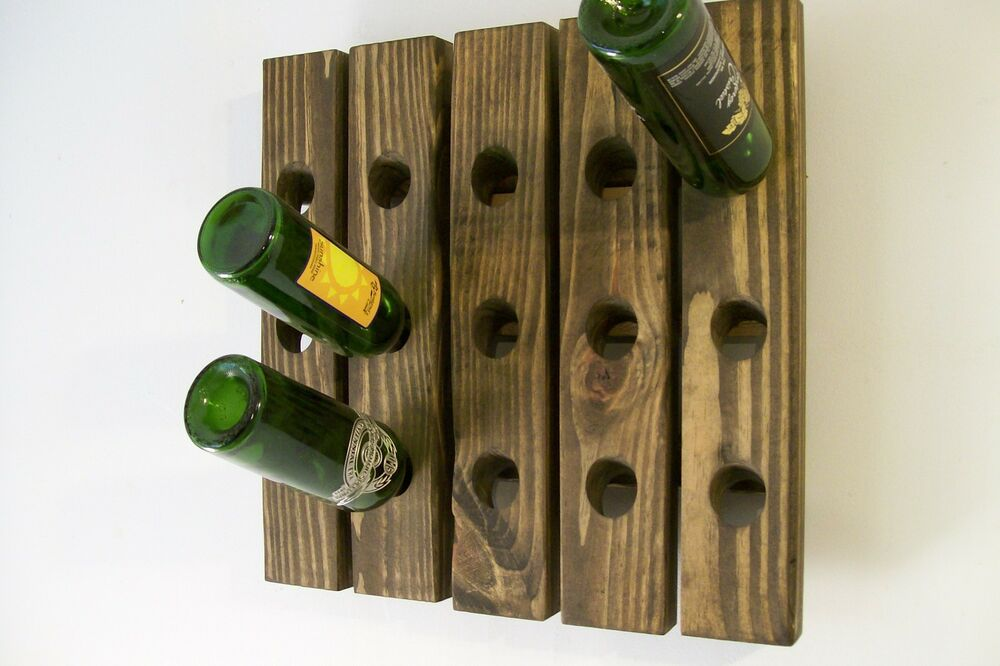 Riddling rack handmade wood wall hanging wine rack ebay Hanging wooden wine rack