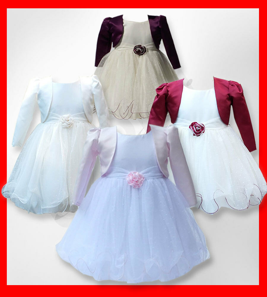 Baby girls bolero jacket christening dresses girls wedding for Wedding dresses for baby girls