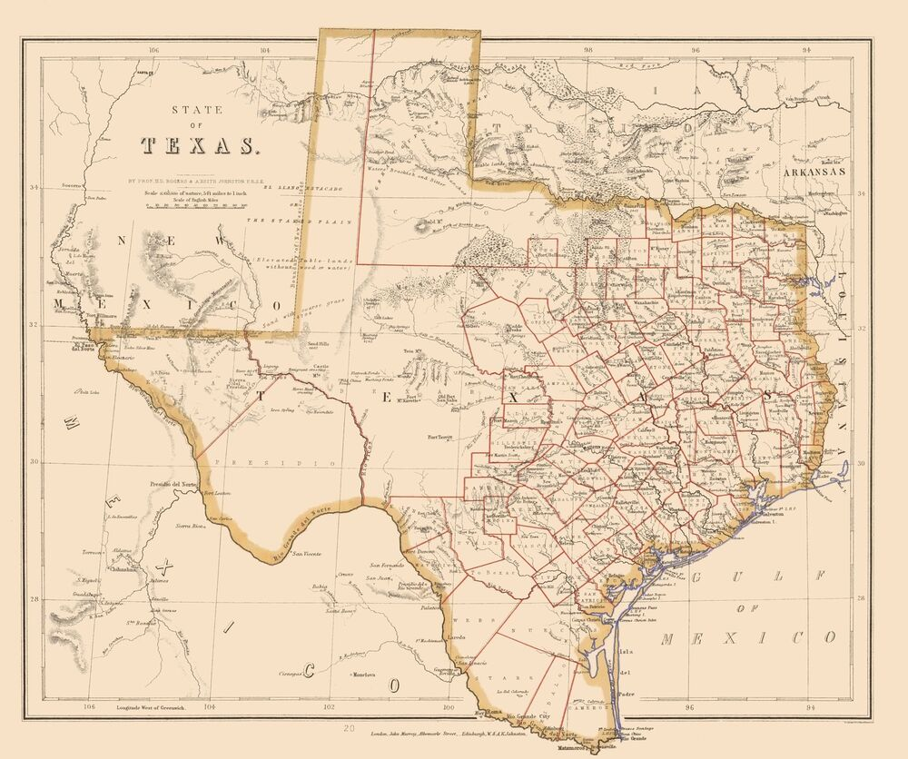 State Map Of Tx.Old State Map Texas Stanford 1857 23 X 27 49 Ebay