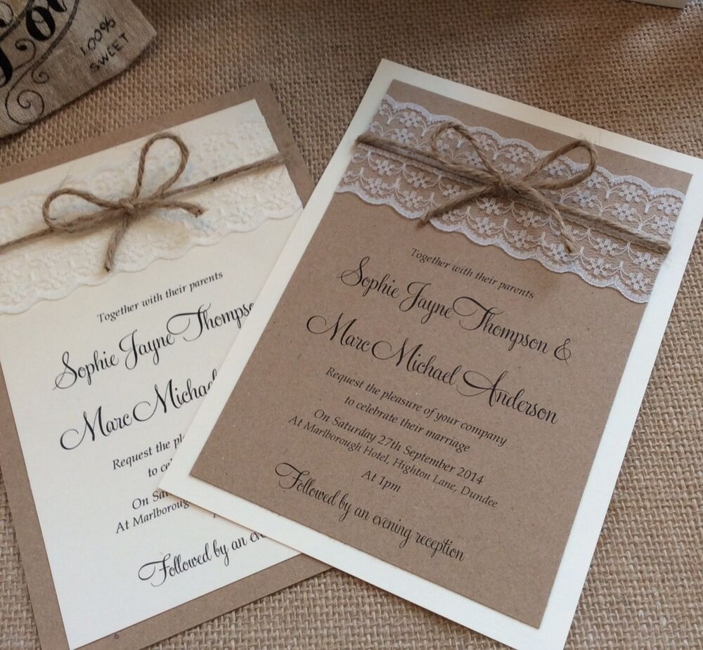 1 Vintage/shabby Chic 'Sophie' Wedding Invitation With