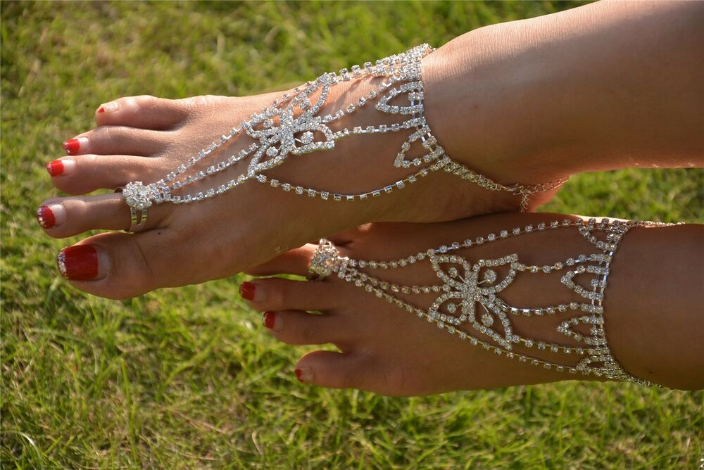 1 Pair 2pcs Barefoot Sandals Foot Jewelry Beach Bridal
