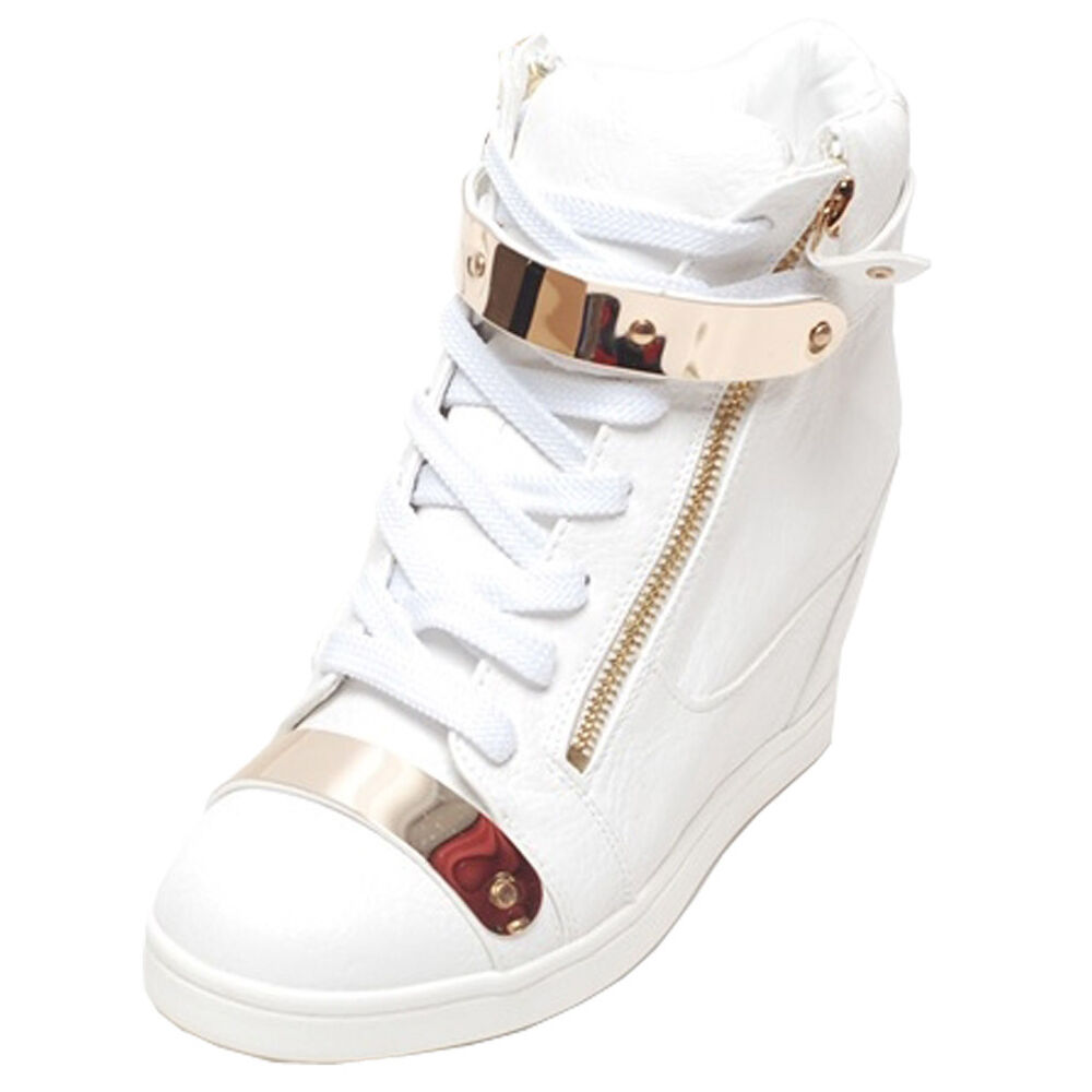 Creative Womens Girls Ankle High Top Diamante Wedge Heel Trainers