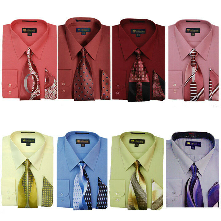 Men 39 s dress shirt with matching tie and handkerchief set 8 for How to match shirt and tie