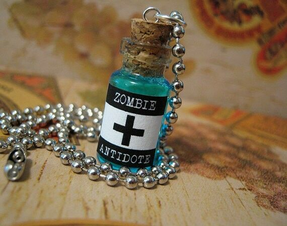 zombie antidote glass bottle necklace halloween charm