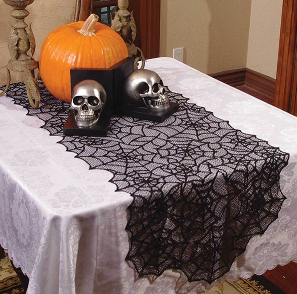 Haunted house gothic black lace spider web table runner halloween