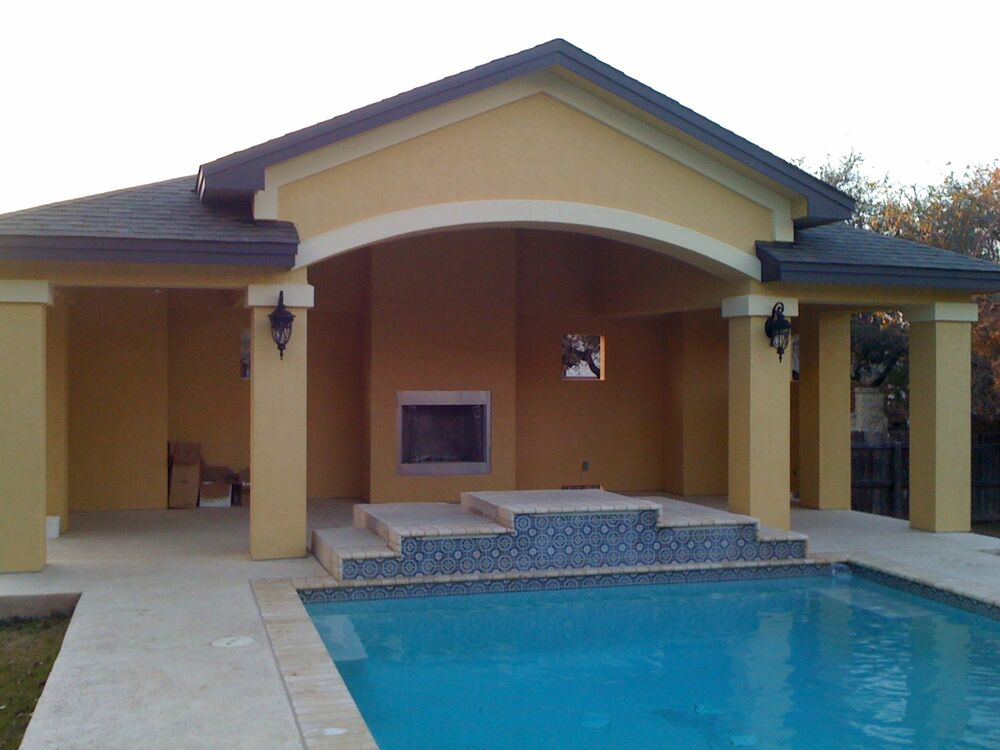 Pool house cabana bbq pavillion outdoor living with for Pool pavilion plans