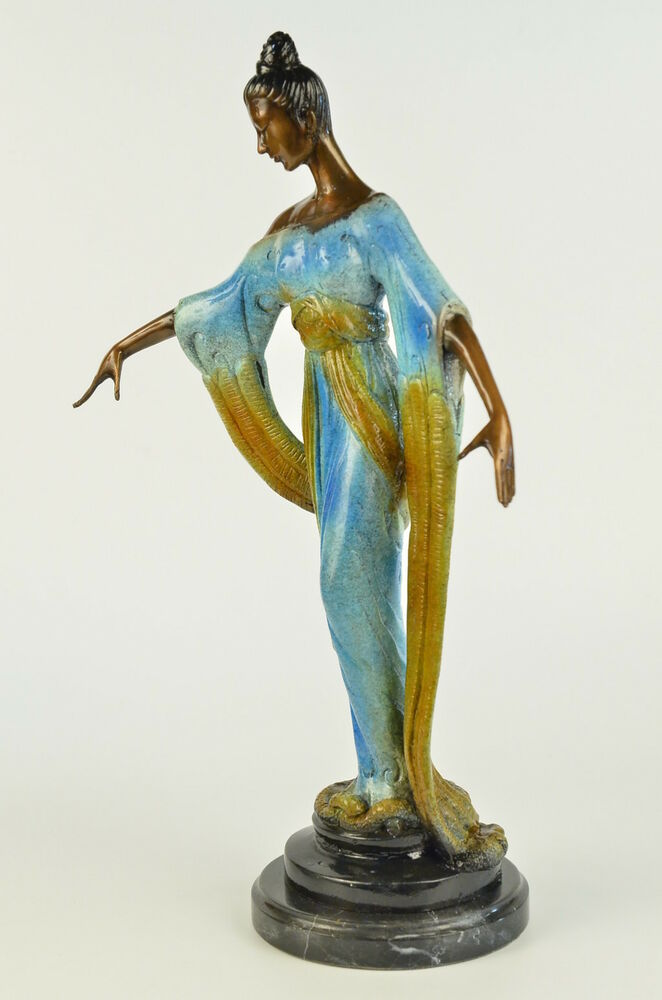art deco bronze lady in kimono colorful patina finish statue sculpture figurine ebay. Black Bedroom Furniture Sets. Home Design Ideas