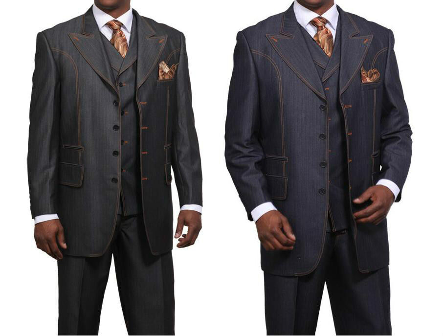 Men's Fashionable Denim Look Wool Feel Suit with Collared ...
