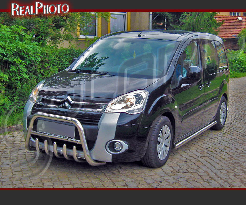 citroen berlingo mk2 2008 set of bull bar side bars gratis stainless steel ebay. Black Bedroom Furniture Sets. Home Design Ideas
